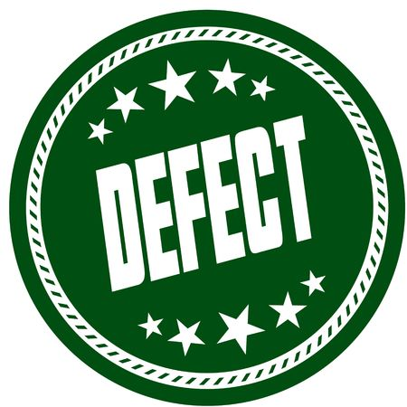 Green 5 star stamp with DEFECT . Illustration concept image