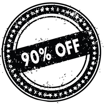 Black 90 PERCENT OFF distressed rubber stamp with grunge texture. Illustration