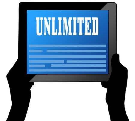 UNLIMITED on tablet screen, held by two hands. Illustration