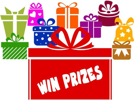Gift boxes with WIN PRIZES text. Illustration image concept Stockfoto