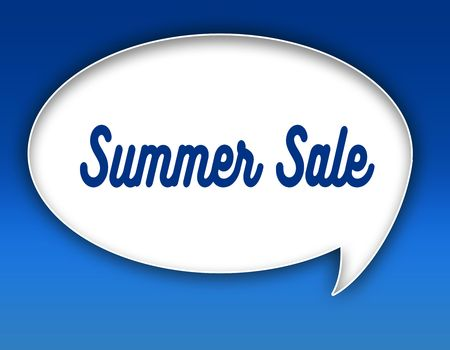 SUMMER SALE text on dialogue balloon illustration graphic. Blue background.