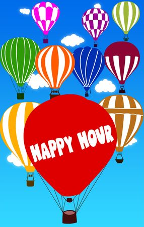 HAPPY HOUR written on hot air balloon with a blue sky background. Illustration