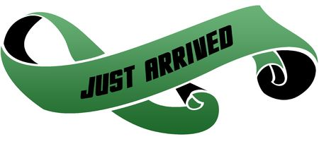 Green scrolled ribbon with JUST ARRIVED message. Illustration image