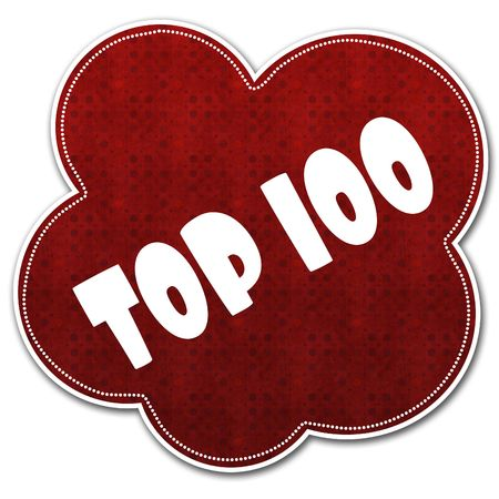 Red pattern cloud with TOP 100 text written on it illustration.