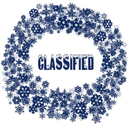 Snowy CLASSIFIED text in snowflake frame. Illustration concept Stockfoto
