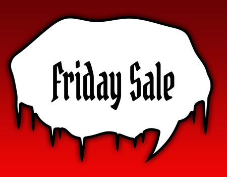 Horror speech bubble with FRIDAY SALE text message. Red background. Illustration concept