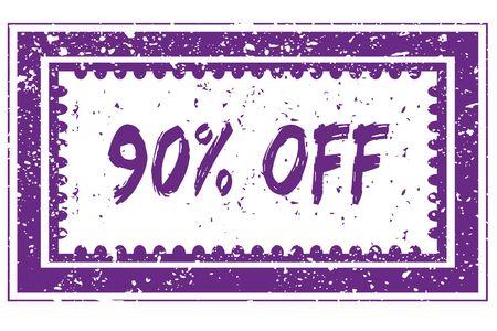 90 PERCENT OFF in magenta grunge square frame stamp. illustration image