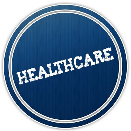 HEALTHCARE distressed text on blue round badge. Illustration