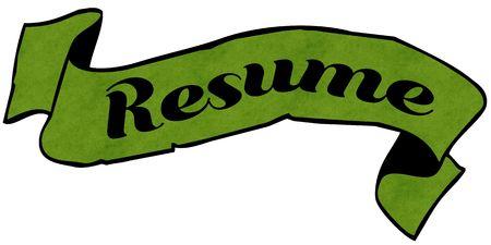 RESUME green ribbon. Illustration graphic concept image Stockfoto