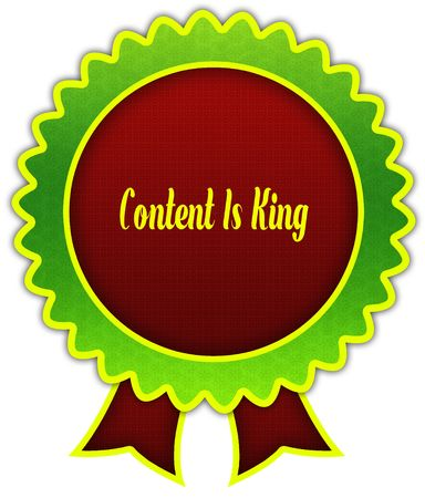 CONTENT IS KING on red and green round ribbon badge. Illustration Stock Photo