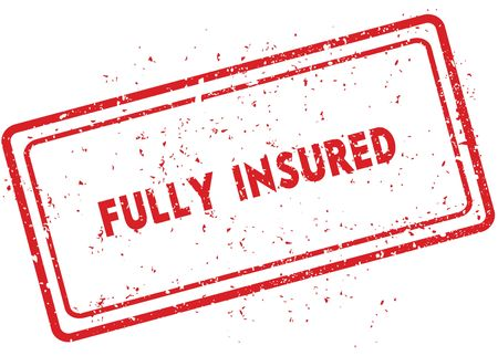 Red FULLY INSURED rubber stamp. Illustration graphic image concept