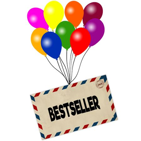 BESTSELLER on envelope pulled by coloured balloons isolated on white background. Illustration