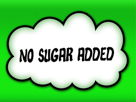 Comic style cloud with NO SUGAR ADDED writing on bright green background. Illustration