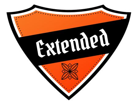 Orange and black shield with EXTENDED text. Illustration