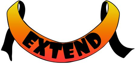 Orange ribbon withEXTEND text. Illustration concept image