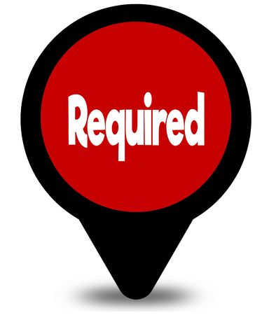 REQUIRED on red location pointer illustration graphic Фото со стока - 100343977