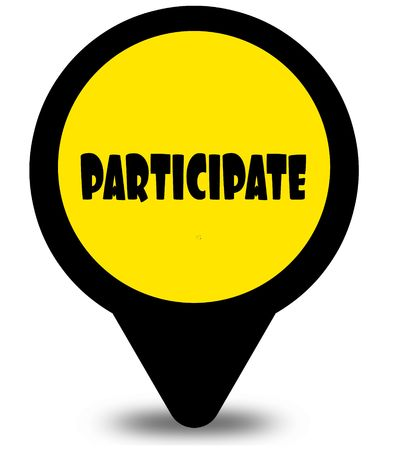 Yellow location pointer design with PARTICIPATE text message. Illustration Stock Photo