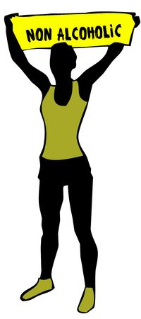 Sporty woman silhouette holding a yellow banner sign with NON ALCOHOLIC text. Illustration Stock Photo