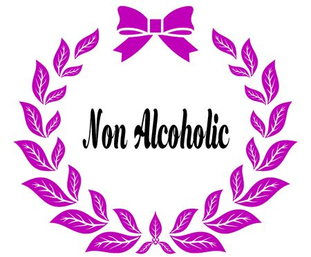 NON ALCOHOLIC with pink laurels ribbon and bow. Illustration concept