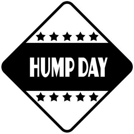 HUMP DAY on black diamond shaped sticker label. Illustration