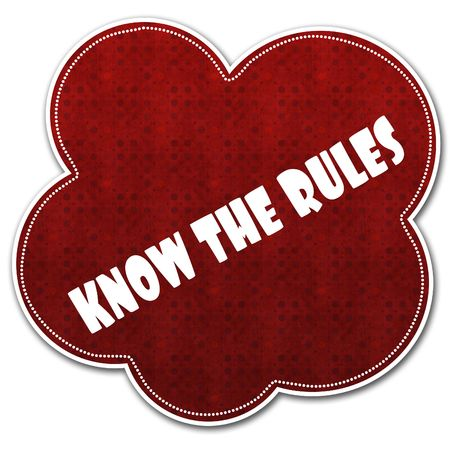 Red pattern cloud with KNOW THE RULES text written on it illustration.