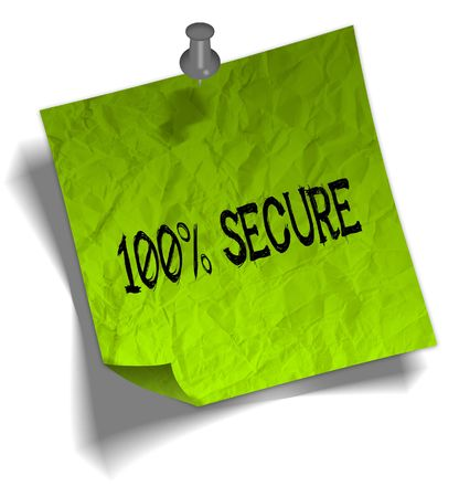 Green note paper with 100 PERCENT SECURE message and push pin graphic illustration.