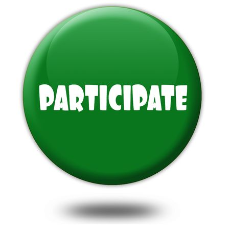 PARTICIPATE on green 3d button. Illustration graphic design concept image