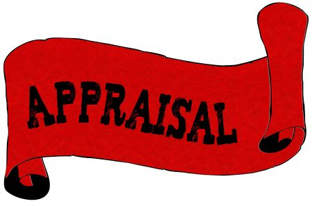 Red scroll paper with APPRAISAL text. Illustration concept
