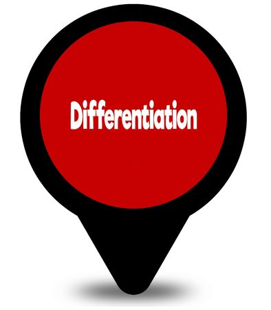 DIFFERENTIATION on red location pointer illustration graphic
