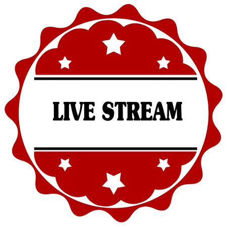 Red label with LIVE STREAM text. Illustration graphic design concept image