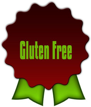GLUTEN FREE on red seal with green ribbons. Illustration Stock Photo