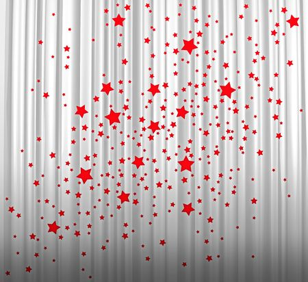 Red stars on white curtain Stock Photo