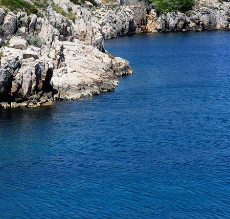 white rocky coast on the mediterranean sea europe