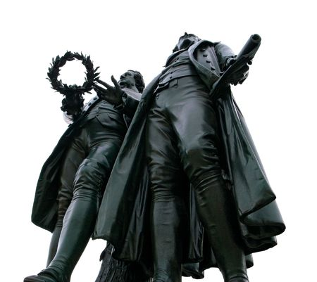 stardom: monument of goethe and schiller in weimar on white