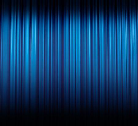 Illuminated blue curtain in theater or cinema, illustration Stock Photo