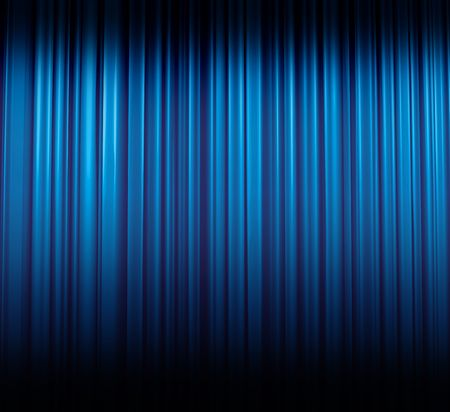 stage curtain: Illuminated blue curtain in theater or cinema, illustration Stock Photo