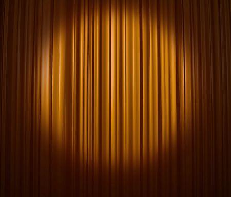 Golden curtain with spotlight