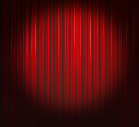 Deep Red Curtain With Spotlight