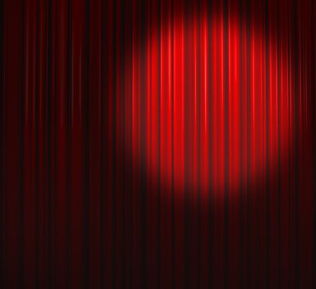 Deep Red Curtain With Spot Right Stock Photo