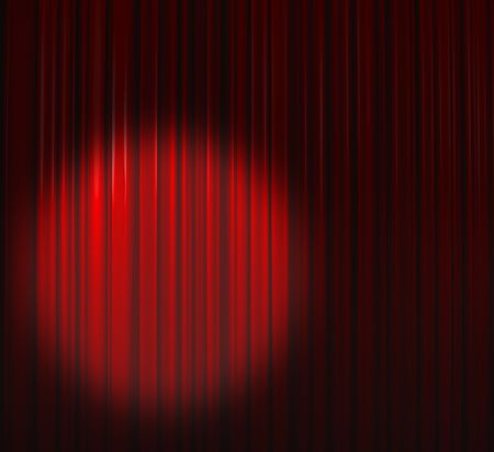 Deep Red Curtain With Spot Left Stock Photo