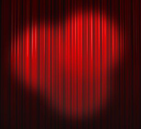 operetta: Deep Red Curtain With Three Spots Stock Photo