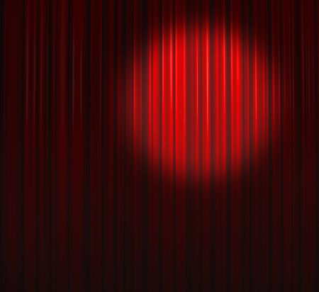 Deep Red Curtain With Small Spot Top Right Stock Photo