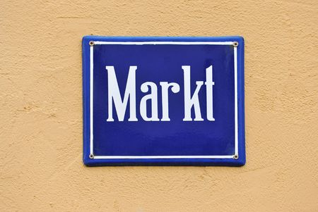 street sign of a marketplace in germany, europe