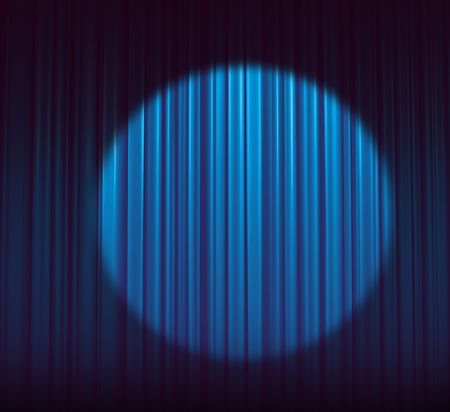 Illuminated blue curtain with round spotlight  Stock Photo