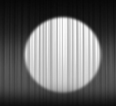 Illuminated white curtain with round spotlight