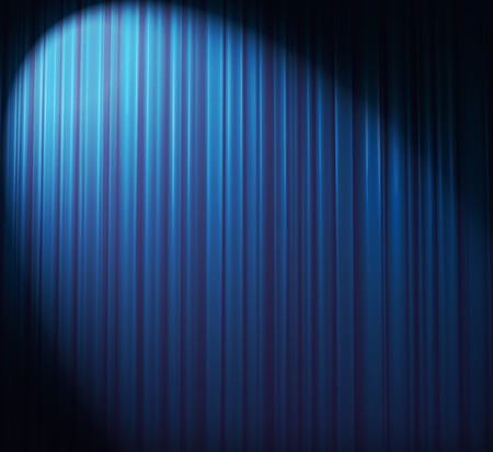 Illuminated blue curtain with round spotlight from upper right corner photo