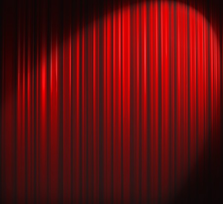Illuminated red curtain with round spotlight from upper right corner