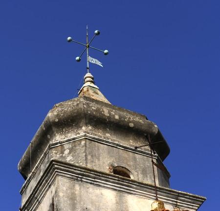 Mediterranean church spire in a croatian village Stock Photo