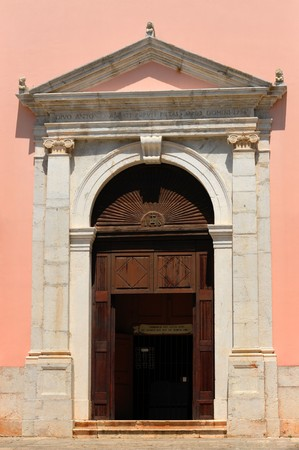 Old wooden entry doors of a croatian church photo