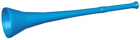 Traditional blue plastic Vuvuzela instrument from South Africa used by soccer fans